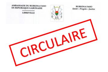 Note circulaire portant délivrance des cartes de séjour aux Burkinabè entrés au Gabon avant 2019